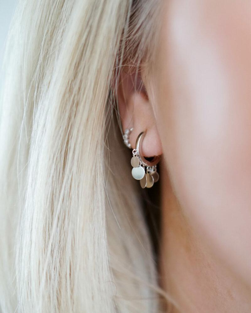 Amber – sølv øreringe