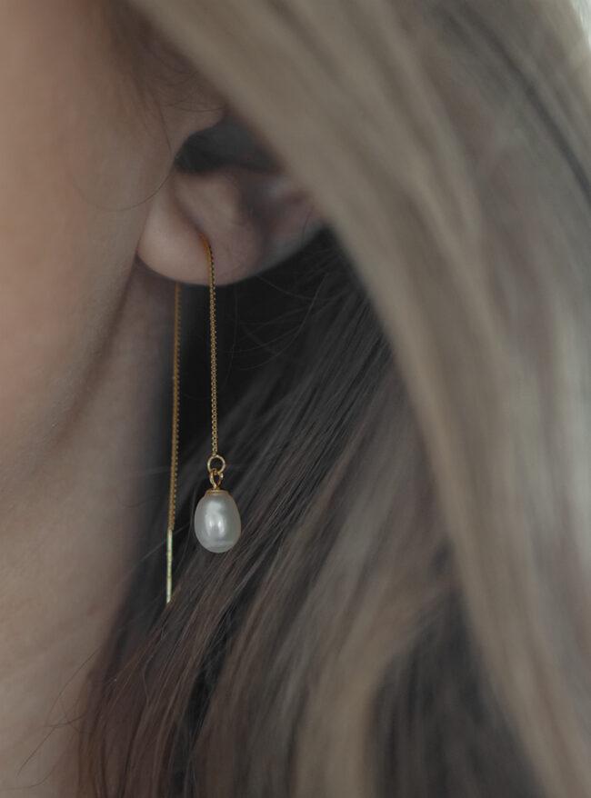 hænge øreringe med perler